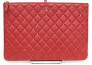 Red Lambskin Leather O-case Pouch Quilted Clutch Rouge Zipper Silver Hw