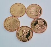 Lot Of 5- One Avdp Ounce Copper Rounds Natives Animals And Abe