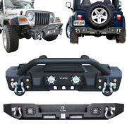 Vijay Front Rear Textured Bumper With 8 Led Lights Fit 97-06 Jeep Wrangler Tj