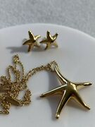 Elsa Peretti 18k Yellow Gold Starfish Necklace And Earrings Set