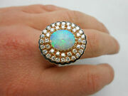 Large Gorgeous Vintage 14k Solid Yellow Gold Natural Opal Diamond Halo Ring