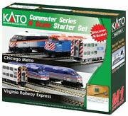 Kato Usa Model Train Products N F40ph And Gallery Bi-level Commuter Series