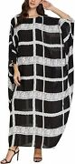 Flygo Womenand039s Batwing Plaid Floral Printed Long Short Sleeves Oversized Maxi Dre