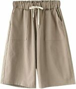 Howand039on Womenand039s Casual Elastic Waist Knee-length Bermuda Shorts With Drawstring