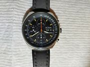 Lejour Cronograph Auto 3 Register Military Pilots Watch All Stainless Steel....