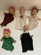Antique Hand Made Vintage Punch And Judy Paper Mache Folk Art Puppet Toy Dolls