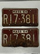 Vintage 1964 Front And Rear Massachusetts Mass Ma License Plate Set Estate Find