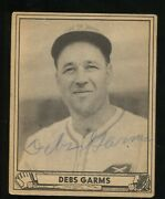 1940 Play Ball R335 161 Debs Garms Signed Auto Pittsburgh Pirates