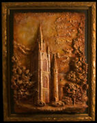 Notre Dame Basilica Of The Sacred Heart Relief Sculpture Oil Painted In Framed