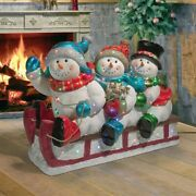 39 Led Lighted Trio Of Frosty Snowman On Sled Sparkling Christmas Lawn Decor