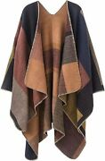 Women's Shawls And Wraps Open Front Poncho Cape Cardigan Winter Blanket Sweater