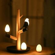 Lucky Bird Tree Shape Led Night Table Lamp Wood Base Home Lighting Bedside Lamps