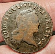 1720 Aa=metz Mint.1/2 Sol French Colonial Louis Xv.john Law Very Rare Coin.