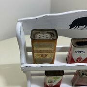 Vintage Wood Spice Rack With 5 Old Spice Tins Jars Made In Japan Cans Cumin