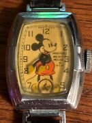 Nice 1937 Vintage Ingersoll Mickey Mouse Wrist Watch With Original Band - Works