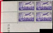 94830b - France - Stamps - Yvert Airmail 10 - Block Of 4 Coin Datee