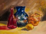 Still Life By D. Davidsohn Cranberry Glass Copper Kettle And Blue Glass Vase