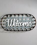 Metal Basket Sentiment Wall Sign Country Farmhouse Home Decor - Welcome