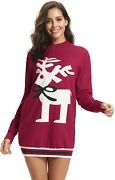 Aibrou Womens Ugly Christmas Sweater Dress Reindeer Knitted Sweater Pullover
