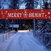 Huge Merry Christmas Banner Large Xmas Sign Hanging Decorations For Holiday X