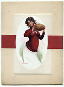 Large Antique Early 1900's Harvard University College Girl Football Postcard