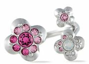 Crystal Cherie Open Ring 5111320 Pink / Fuchsia And Silver Brand New