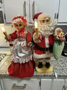 Vintage Rennoc Animated Lighted Santa And Mrs Claus 24 Christmas Figures Tested