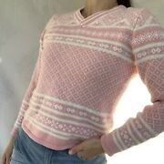 St. Johns Bay Pink And White Embellished Sweater Size Petite Small