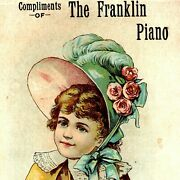 C1890s Compliments The Franklin Piano Superiority Trade Card Cute Girl Bonnet C3