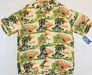 Aloha Hut Mens Hawaiian Shirt Button Front Short Sleeve Palm Trees Xl New Tags
