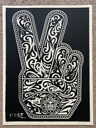 Obey Peace Fingers Print By Shepard Fairey Signed And Numbered Missed Printed