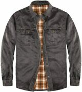 Mens Flannel Lined Shirt Jacketheavy Washed Durable Cotton Shirt Jackets