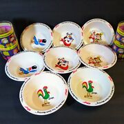 8 Vintage Kelloggs Cereal Bowls New 1995 4 Breakfast Cups Tony Tiger Snap Toucan
