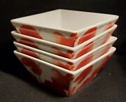 Set Of 4 Food Network Poppy Soup/cereal Bowls 6-inch Square Mint