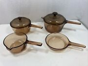 Vintage Corning Ware Vision 6 Piece Pots And Lids Pan Cookware Amber Glass Pyrex