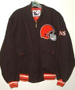 Vtg 2005 Cleveland Browns Nfl Mitchell And Ness Wool Quilted Insulated Jacket 44
