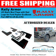 Rally Armor Ur Black Mud Flaps With Red Logo For 2017-2021 Ford Raptor Ecoboost