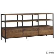 Tv Stand Table And Entertainment Media 61 In. Modern Brown Center Unit W/ Shelves