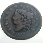 1833 United States America 1 One Cent Copper Penny Circulated Km 45 Coin T418