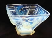 Anddeg Design Antique Geometric Opalescent Vase Muller Freres Art Deco Lady With Swan