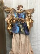 """Christmas Angel Tree Table Topper Stiff Paper Mache 13""""tall Vintage Bright Cute"""