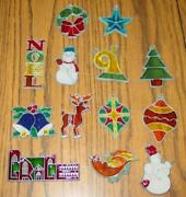 13 Vtg Makit And Bakit Christmas Ornaments Metal Stained Glass Set - Partridge++