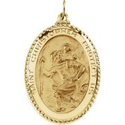 St Christopher Oval Medal Pendant 14k Solid Yellow Gold 9.53 Grams
