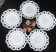 Anchor Hocking Milk Glass 8 3/8 Old Colony Lace Open Edge Salad Plate 5 Plates
