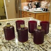 6 Vtg Homco Home Interior Ruby Red Glass Tiny Diamond Cut Votive Candle Holders