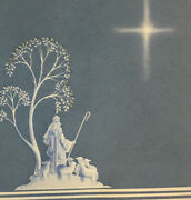 Christmas Card Vintage Religious Shepherd Following North Star Nos 20 Cards