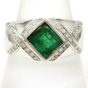 Platinum 900 Ring 23 Size Emerald 2.22 Diamond About16.4g Free Shipping Used