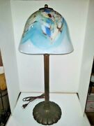 Vtg Art Deco Nouveau Arts And Craft Large Lobed Lamp 1930and039s And Art Glass Shade 2021