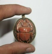 Rare Ancient Egyptian Antique Agate Scarab Protection Amulet 1788-1732 Bc 5