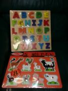 Lot Of 2 Melissa And Doug Toys, Sound Puzzle Farm Animals And 3d Wood Alphabet